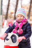 Portrait of adorable little girl on skating rink Royalty Free Stock Image