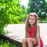 Portrait of adorable little girl on a warm summer Stock Photos
