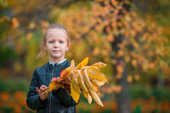 Portrait of adorable little girl with yellow and orange leaves bouquet outdoors at beautiful autumn day Royalty Free Stock Photo