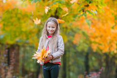 Portrait of adorable little girl with yellow and orange leaves bouquet outdoors at beautiful autumn day Stock Image