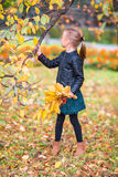Portrait of adorable little girl with yellow and orange leaves bouquet outdoors at beautiful autumn day Royalty Free Stock Photography