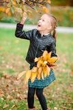 Portrait of adorable little girl with yellow and orange leaves bouquet outdoors at beautiful autumn day. Adorable little girl at beautiful autumn day outdoors Royalty Free Stock Images