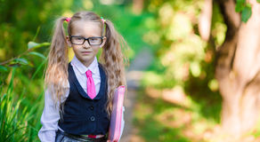 Portrait of adorable little school girl with notes Royalty Free Stock Image