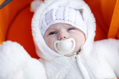Portrait of adorable newborn baby in warm winter clothes Royalty Free Stock Photos