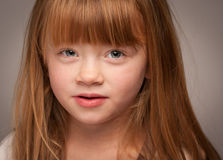 Portrait of an Adorable Red Haired Girl on Grey Stock Photos