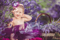 Portrait of an adorable smiling girl in lavender field. Little girl walking in a field of lavender. Outdoor summer portrait Stock Photos