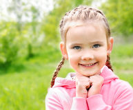 Portrait of adorable smiling little girl on the meadow Royalty Free Stock Image