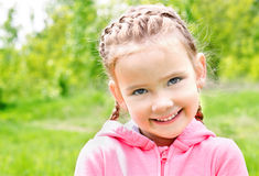 Portrait of adorable smiling little girl on the meadow Stock Photography