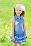 Portrait of adorable smiling little girl on the meadow Royalty Free Stock Photography