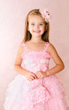 Portrait of adorable smiling little girl in princess dress Stock Photos