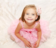 Portrait of adorable smiling little girl in princess dress Royalty Free Stock Photo