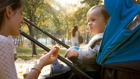 Portrait of adorable toddler boy seating in pram and eating. Adorable toddler boy seating in pram and eating Royalty Free Stock Images