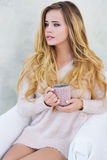 Portrait of adorable woman with cup of coffee Stock Photography