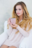 Portrait of adorable woman with cup of coffee Stock Photos