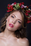 Portrait of Adorable Woman with Garland of Flowers Royalty Free Stock Photo