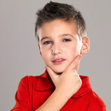 Portrait of adorable young beautiful boy Stock Photos