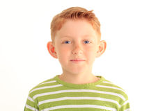 Portrait of adorable young boy isolated on white background Stock Photos
