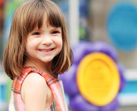 Portrait of an adorable young girl. With funny excited look on her face stock images