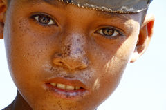 Portrait of adorable young happy boy - african poor child, pover Stock Photo