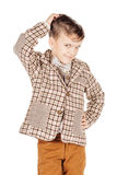 Portrait adorable young happy boy looking at camera isolated on Royalty Free Stock Photography