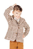 Portrait adorable young happy boy looking at camera isolated on Stock Photo