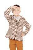 Portrait adorable young happy boy looking at camera isolated on Stock Images