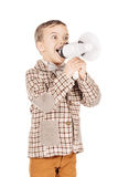 Portrait adorable young happy boy looking at camera isolated on Royalty Free Stock Photo