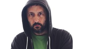 Portrait of adult bearded male wearing hoodie royalty free stock photos