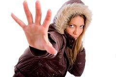 Portrait of adult female wearing woolen coat Stock Images