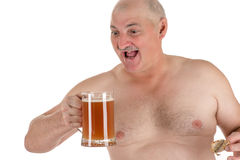 Portrait adult man with a beer in hand. Isolated on white background royalty free stock photography