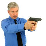 Portrait of adult man with the gun Stock Photo