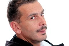 Portrait of an adult man with mustaches. On white background.movember concept royalty free stock photo