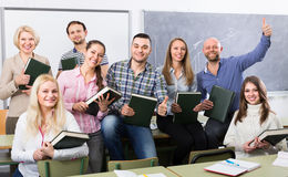 Portrait of adult students at class Royalty Free Stock Photography
