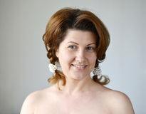 Portrait of an adult woman with bare shoulders Stock Photo