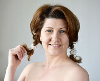 Portrait of an adult woman with bare shoulders Royalty Free Stock Photo