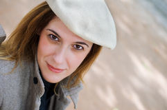 Portrait of adult woman with hat stock photo