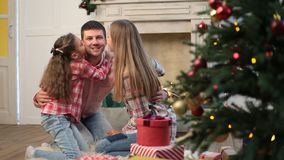 Portrait of affectionate family at Christmas stock footage