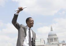 Portrait of Afircan American businessman celebrating Royalty Free Stock Image