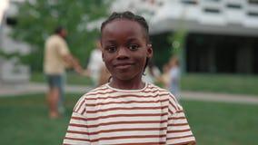 Portrait of african american boy posing on schoolyard