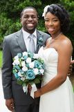 African American bride and groom. Portrait of an African American bride and groom Stock Photo