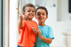 Portrait of African american brothers child playing together Royalty Free Stock Photography