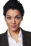 Portrait of african american business woman. Closeup portrait of african american business woman looking serious and confident Stock Photos