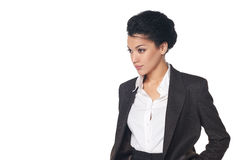 Portrait of african american business woman. Looking serious and confident, looking to the side at blank copy space, over white background Stock Photography