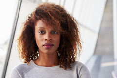 Portrait Of African American Businesswoman In Modern Office Stock Photos
