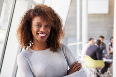 Portrait Of African American Businesswoman In Modern Office stock images