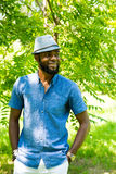 Portrait of African American Cheerful black man smiling on nature Royalty Free Stock Image