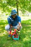 Portrait of African American Cheerful black man smiling on nature Royalty Free Stock Photo