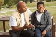 African American father and son. Portrait of an African American father and son Royalty Free Stock Photo