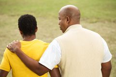 African American father and son. Portrait of an African American father and son Stock Photos