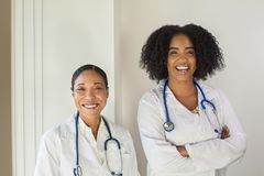 Portrait of an African American female doctor. stock image